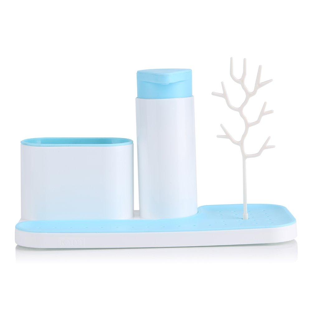 Fdit Lavandino di plastica Scaffale Organizzatore Sapone Spugna Scarico Cremagliera Bagno Titolare Cucina di stoccaggio Aspirazione Blue