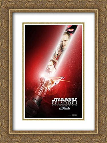 Amazon Com Star Wars Episode I The Phantom Menace 3d 18x24 Double Matted Gold Ornate Framed Movie Poster Art Print Posters Prints