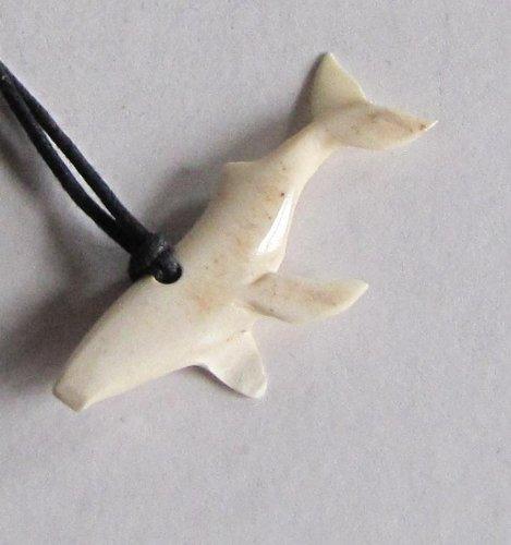 Alaskan Made Moose Antler Carved Humpback Whale Pendant