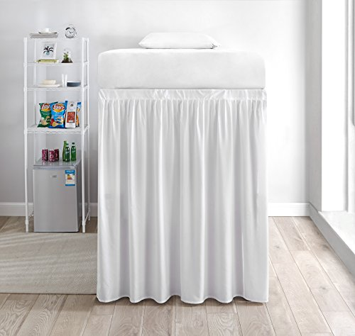 Extended Dorm Sized Bed Skirt Panel with Ties (1 Panel) - White (for Raised or lofted beds)