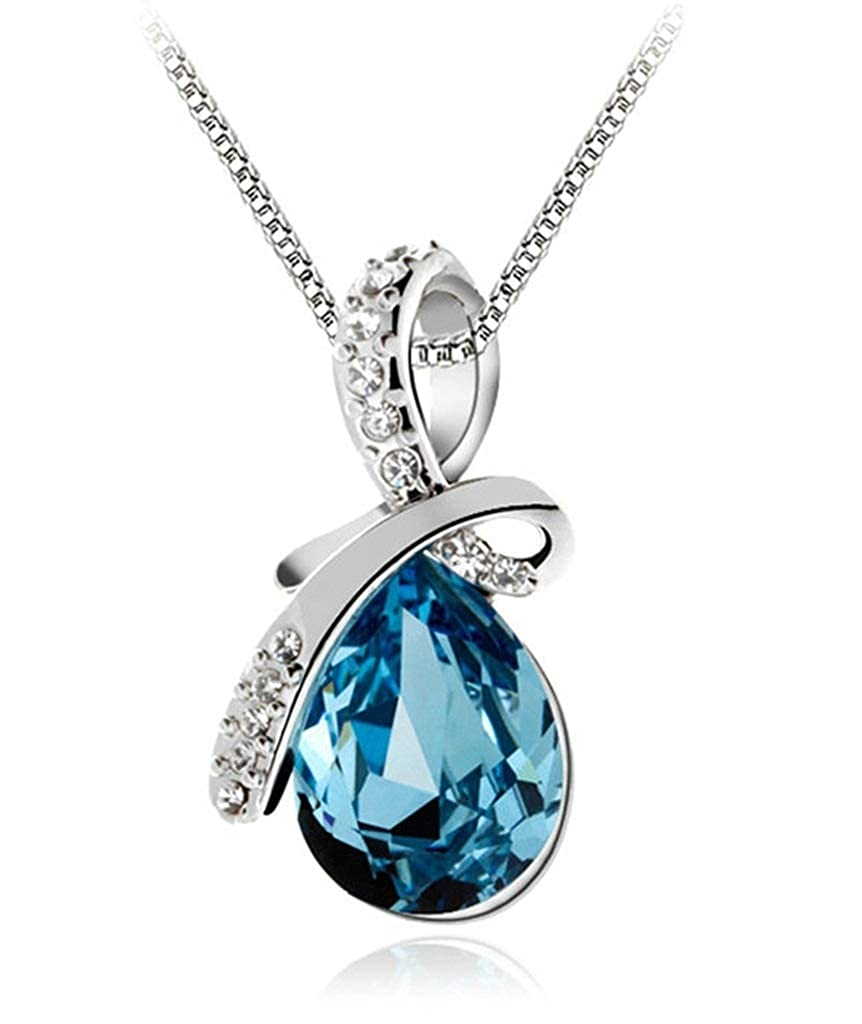 Aooaz Silver Plated Necklace Women Girl Oval Pendant Necklace Blue Wedding