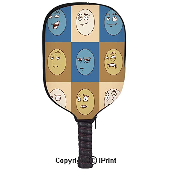 Amazon.com : 3D Pickleball Paddle Racket Cover Case with Diving Material, Emotional Heads Flat Icons Set(Size:8.23