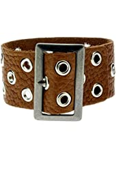 "1"" Wide Medium Brown Genuine Leather Bracelet Wristband w/ Metal Grommets"