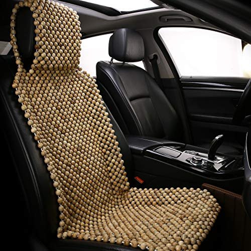 shakar Natural Wood Beads Car Seat Cover-Massage Cooling Seat Covers for Car SUV Truck Front Seat Only (Wood -