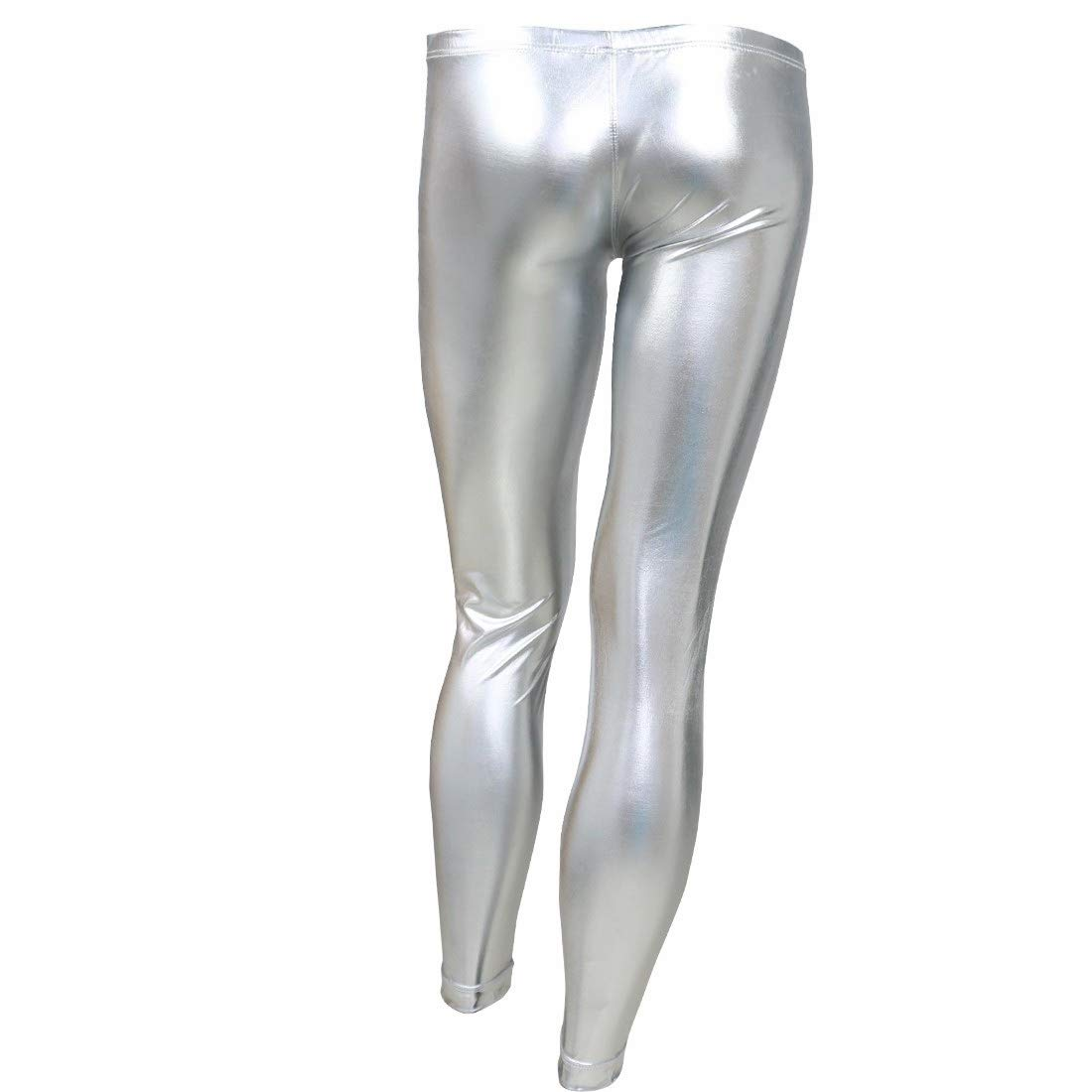 Agoky Mens Shinny Metallic PVC Pants Tights Legging Trousers Bulge Pouch Clubwear Costume