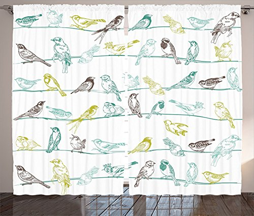 """Apartment Decor Curtains Various Type of Birds Sitting and Chirping on the Wires Musical Creatures Print Living Room Bedroom Decor 2 Panel Set Light Green Brown,Size:2 x 27.50""""W By 39""""H"""