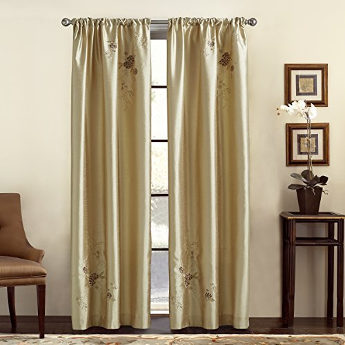 Alesandra Panel Window (CHF & You Alesandra Floral Embroidered Faux Silk Window Curtain Panel, Gold, 44-Inch X 84-Inch by CHF & You)