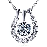 Elegant Sterling Silver Cubic Zirconia Horseshoe Pendant Necklace for women 18""