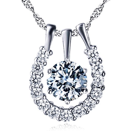 Elegant Sterling Silver Zircon Diamond Cut Horseshoe Pendant Necklace for women 18