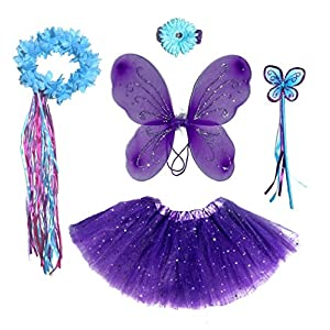 6 Pc Girls Dark Purple & Teal Fairy Set with Wings, Headband, Halo - 513 nuSq 2BpL - 6 Pc Girls Dark Purple & Teal Fairy Set with Wings, Headband, Halo