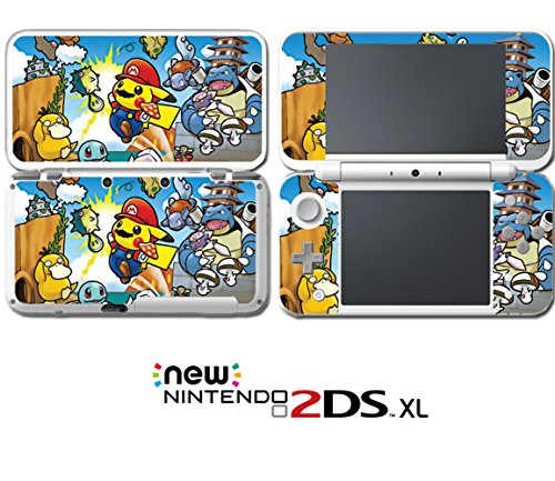 Super Mario Bros Pikachu Smash Psyduck Video Game Vinyl Decal Skin Sticker Cover for Nintendo New 2DS XL System Console (Lite Bros Mario Ds)