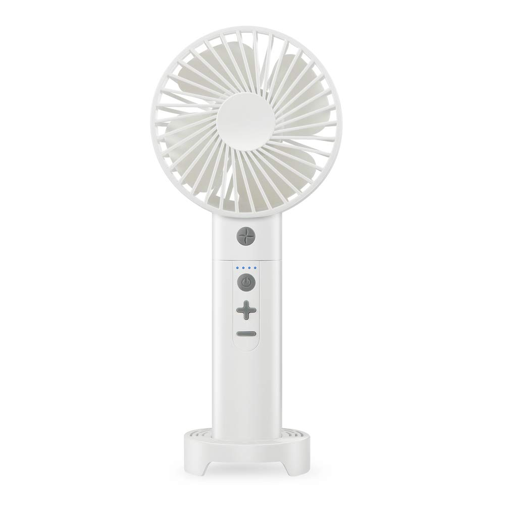 Alfway 4-in-1 Rechargeable Portable Handheld Fan Bluetooth Speaker Power Bank Flashlight with Three Fan Speed Options White