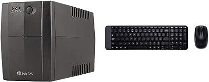 NGS FORTRESS900V2 - Sistema de alimentación ininterrumpida, Color Negro + Logitech MK220 - Pack de Teclado y ratón inalámbrico con USB, Negro - QWERTY Español: Amazon.es: Informática