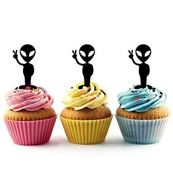 Friendly Alien UFO Kuchenaufsätze Hochzeit Geburtsta Acryl Dekor Cupcake  Kuchen Topper Stand Für Kuchen Party Dekoration