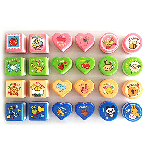 Lanlan 24pcs/set Cute Cartoon ABS Plastic Self Inking Seal Stamper Toy for Kids