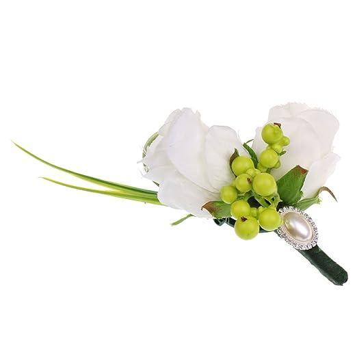 MagiDeal Corsage de Flores Artificiales Broche de Dama de Honor de ...
