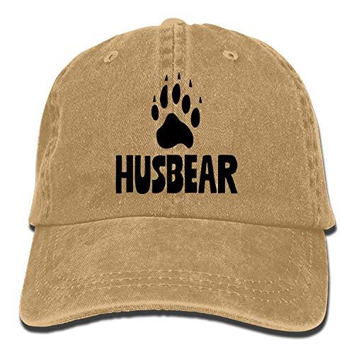 Men Women Camp Hair HUSBEAR Bear Footprint Cotton Denim Baseball Hat Adjustable Street Rapper Hat]()