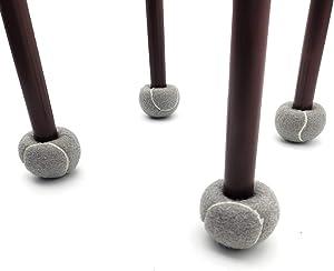 4PCS Set Chair Leg Protectors - Tennis Ball Styled Felt Socks Thick Wood Floor Furniture Legs Protector Booties for Table, Floors (Grey)