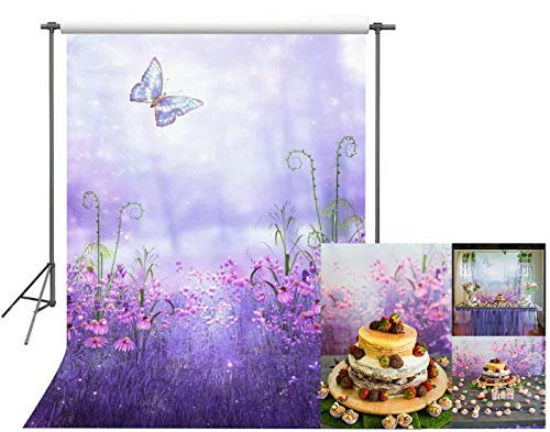 (FUERMOR Fairytale Background 5x7ft Purple Flowers and Butterfly Photography Backdrop Photo Props Room Mural LEFU017 )