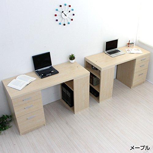 パソコンデスク ツインデスク セット ハイタイプ おしゃれ 収納 木製 書棚付きラック 3段チェストメープル CPB027D-AMP J-Supply B01G12Z6KY