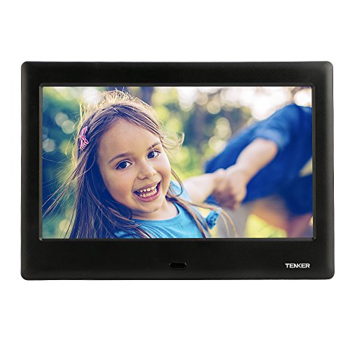 TENKER 8-inch HD Digital Photo Frame IPS LCD Screen with Auto-Rotate/Calendar/Clock Function, MP3/Photo/Video Player with Remote Control (Black)