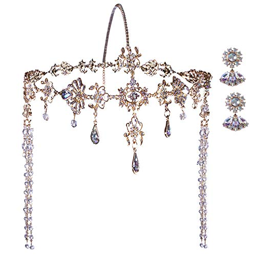 Vijiv Great Gatsby Headpiece + Earrings 1920s Roaring 20s Crystal Flapper Wedding Gatsby accessories -