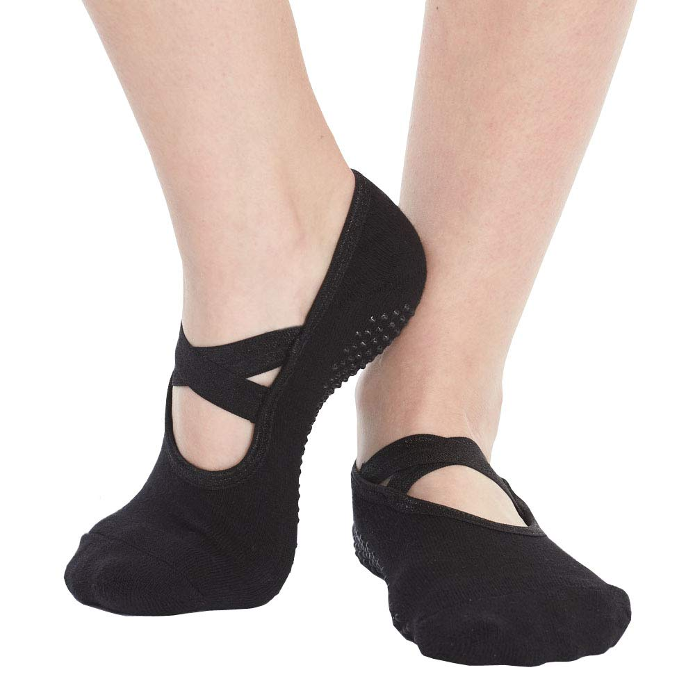 Yoga Socks for Women Non Skid Socks with Grips Barre Socks Pilates Socks for Women (black-1 pack) by QING