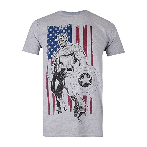 Grigio Uomo Heather T Spo grey Flag shirt Captain Marvel OqwxAPSFS