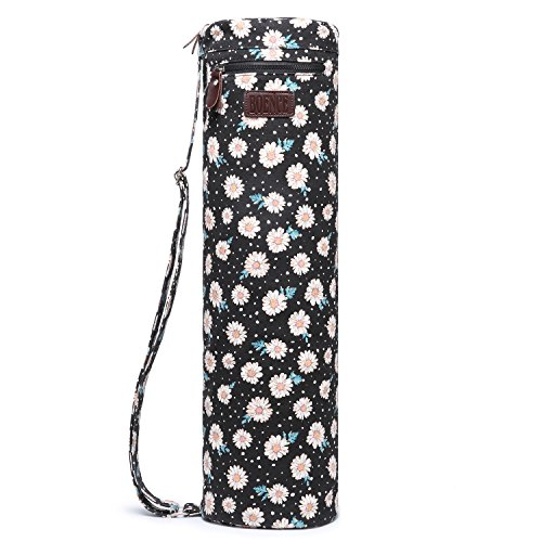 Boence Yoga Mat Bag, Full Zip Exercise Yoga Mat Sling Bag with Sturdy Canvas, Smooth Zippers, Adjustable Strap, Large Functional Storage Pockets – Fits Most Size Mats (Daisy)