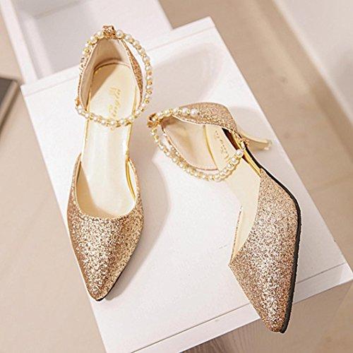Kolylong Damenschuhe Frauen Elegant Pailletten Schuhe Mit Absatz