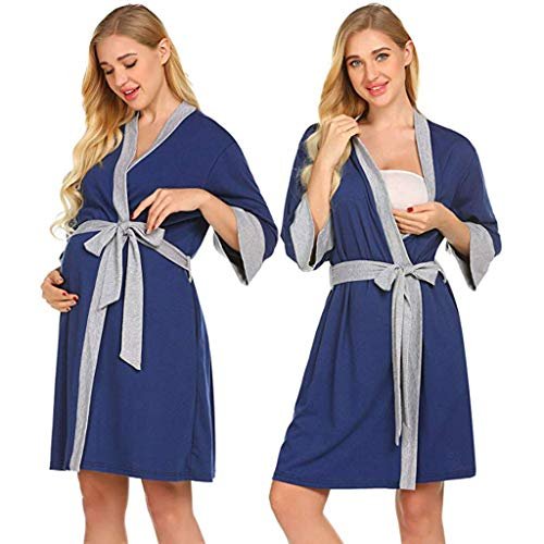 (Women's Maternity Nightgowns,Adjustable Belt Delivery/Labor/Nursing Pregnancy Gown for Hospital Breastfeeding Dress)