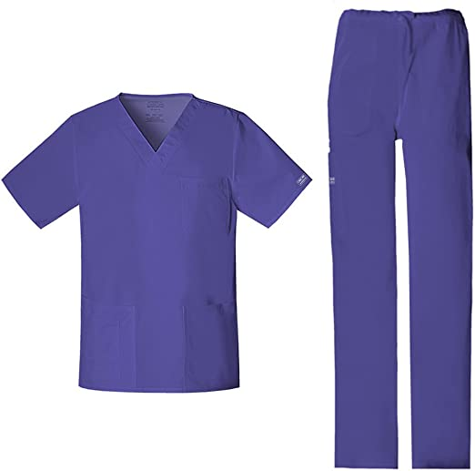 Wine Cherokee Scrubs Workwear Professionals Mens V Neck Top WW675 WIN