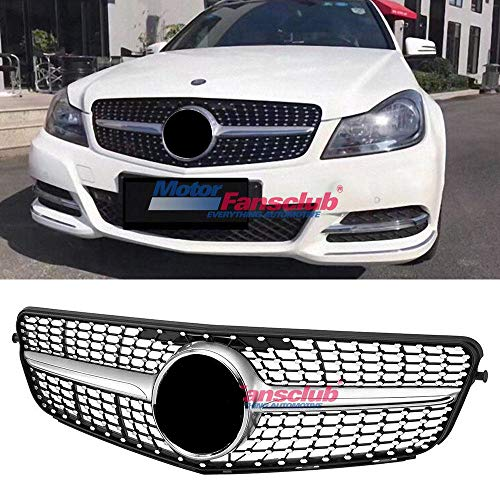 MotorFansClub for Mercedes Benz C-CLASS W204 Grill 2008-2014 Diamond Grille C180 C200 C300 Grill (Silver)