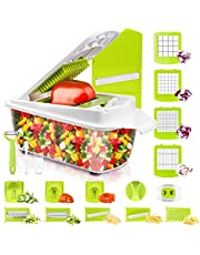 Vegetable Chopper and Slicer Dicer for Kitchen 23 PCS Veggie Slicer and Chopper Vegetable Cutter Cooking Accessories Gadget Stuff Salad Maker Dicing Machine Potato Fruit Chopper with Container