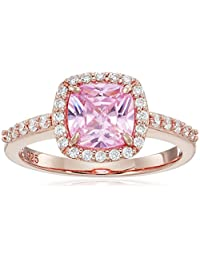 Rose Gold Plated Sterling Silver Morganite Color and White Cubic Zirconia Halo Square Ring, Size 7