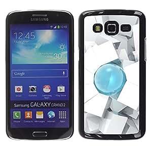 Be Good Phone Accessory // Dura Cáscara cubierta Protectora Caso Carcasa Funda de Protección para Samsung Galaxy Grand 2 SM-G7102 SM-G7105 // Drop 3D Art Cube Polygon White