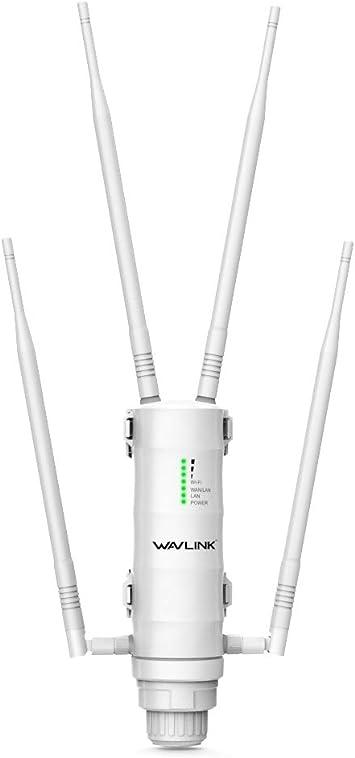 WAVLINK - Punto de Acceso inalámbrico de Alta Potencia para Exteriores (2,4 + 5 G, WiFi Ap/WiFi Extensor/Router 3 en 1 con PoE)