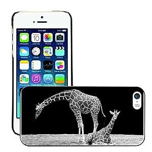 Cas Coq Case Cover // M00147188 Jirafa Cuello Negro Animal y negro // Apple iPhone 5 5S 5G