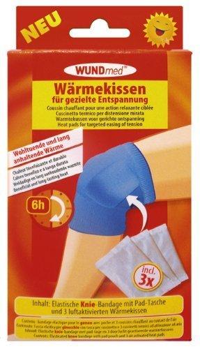 Kniegelenk-Bandage mit austauschbaren Wärmekissen - langanhaltende Wärme bis zu 6 Stunden, schmerzlindernd, muskelentspannend, hypoallergen - inkl. 3 Wärmekissen