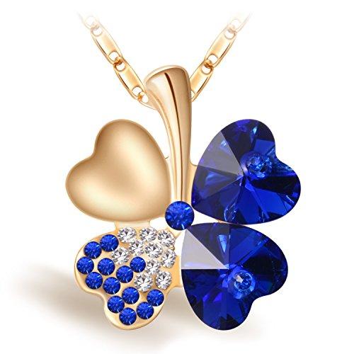 femme bijoux fantaisie Collier pendentif trèfle à quatre feuilles avec quatre coeurs zircone cubique avec chaîne Aloy Slup