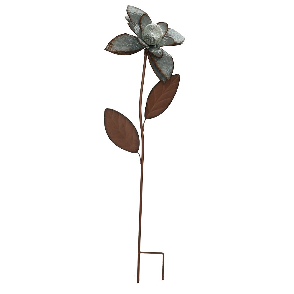 Galvanized Floral Garden Stake Outdoor Glow in Dark Plant Pick Water Proof Metal Stick Art Ornament Decor for Lawn Yard Patio by CEDAR HOME, 11.5''W x 3.25''D x 33.5''H, Peony