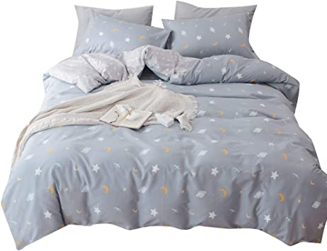 OTOB Soft Stars Print Duvet Cover Twin Bedding Sets Gray Bed, Reversible  100% Cotton Bedding Collection Gift Home Textile for Boys Girls Kids  Toddler ...