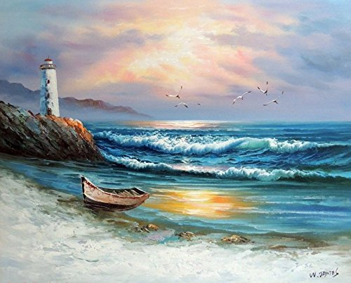 (100% Hand Painted Beach Surf Rowboat Lighthouse Sunset Gulls Canvas Home Wall Art Oil Painting by Well Known Artist, Framed, Ready to Hang)