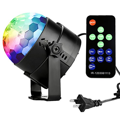 COIDEA Dj Light Disco Ball LED Party Stage Light RGB 7 Colors Sound Activated Strobe Light Portable Mini Stage Lighting for Festival Bar Club Parties DJ Karaoke Outdoor and More(with Remote)