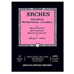 Arches Watercolor Pads contain paper made with natural cotton fibers on a cylinder-mold machine. This artist-grade watercolor paper is great for watercolor, gouache, acrylic, and airbrushing. Arches is made with a natural gelatin sizing. Thes...
