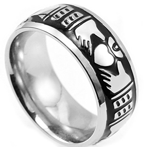 Jude Jewelers 8mm Stainless Steel Claddagh Band Ring ()