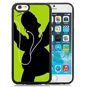 Fashionable Custom Designed iPhone 6 4.7 Inch TPU Phone Case With Homer Simpson Black Green Headphones_Black Phone Case