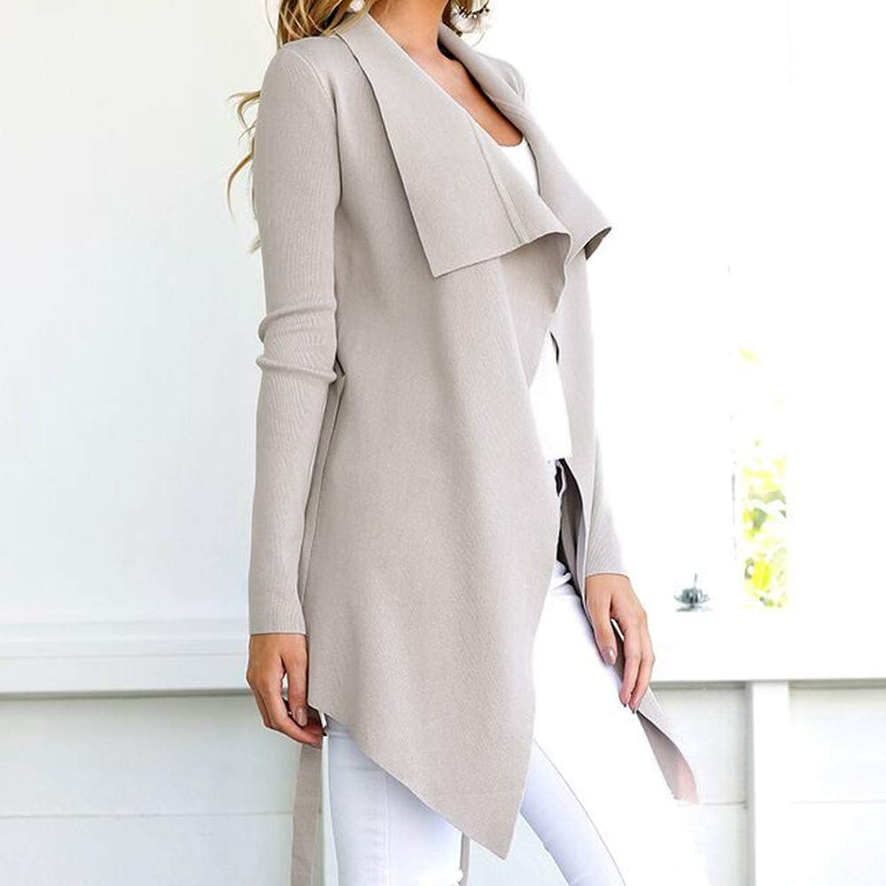Womens Open Front Cardigan Long Sleeve Waterfall Collar Trench Coat Outwear Jacket