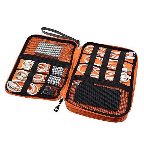 LIFEMATE Travel Accessories Electronics Organizer, Universal Cable Management Organizer Travel Bag For USB, Phone, iPad, Charger and Cable(Double Layer, Large, Grey and Orange) by LIFEMATE (Image #2)
