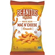 Beanitos Mac n' Cheese White Bean Crunch, Plant Based Protein, Gluten Free, Non-GMO, Corn Free, Real Cheese Baked Snack, 7 Ounce